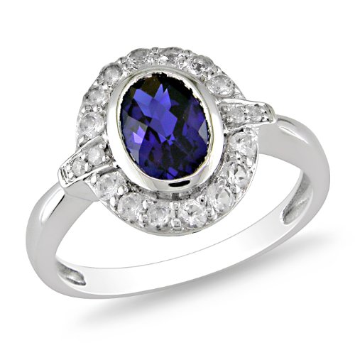 Sterling Silver 2 CT TGW White Topaz and Created Sapphire Fashion Ring