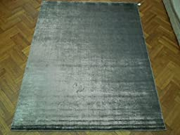 8x10 Silky Modern Area Rug HAND KNOTTED SILVER