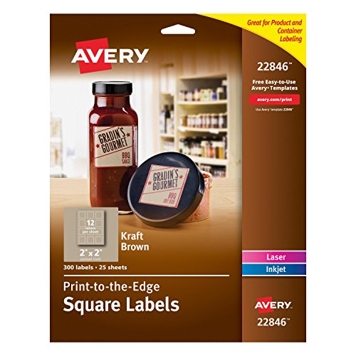 Avery Print-to-the-Edge Square Labels, Kraft Brown, 2 x 2 Inches, Pack of 300 (22846)
