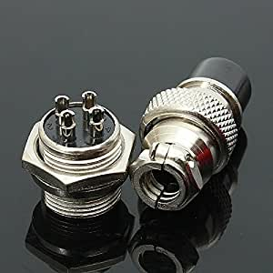 GX16-4 4pin 16mm Aviation Plug Male and Female Panel Metal Connector Silver