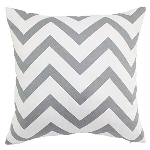 Imported 45cm Wave Stripe Cotton Square Throw Pillow Case Cushion Cover Light Gray