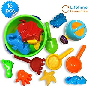 buy baby beach toys toy icon 16 piece set sand bath tub toys with convenient zippered bag. Black Bedroom Furniture Sets. Home Design Ideas