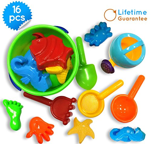 Toys Icon 16-Piece Sand Bucket Baby Beach Toys Set with Zippered Bag (Outdoor Water Table For Toddlers compare prices)