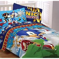 Sega Sonic The Hedgehog Twin Comforter & Sheet Set (4 Piece Bedding)