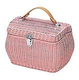 小物入れ ラタン 籐 バスケット バッグ かご カントリー調 ピンク 約24.5×16×16cm 31-02PK