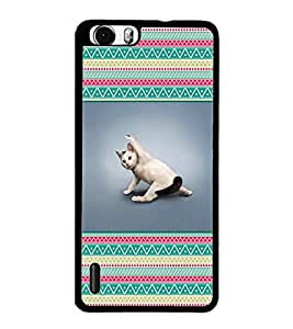 PrintDhaba Cat D-2611 Back Case Cover for HUAWEI HONOR 6 PLUS (Multi-Coloured)