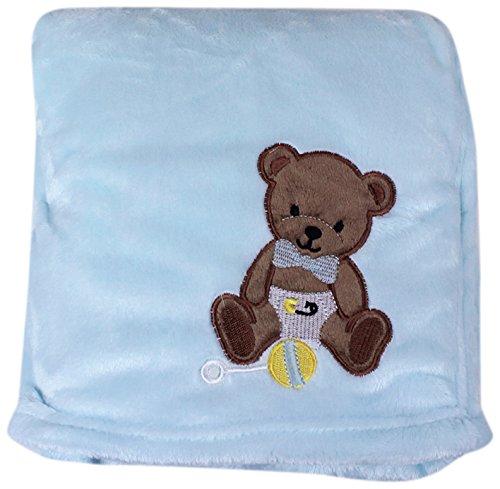 My Baby Bear Design On Velvet Blanket, Blue front-312685