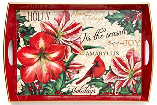 Amaryllis & Holly Large Decorative Wood Serving Tray W/handles, 19.75