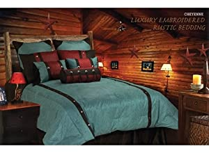 Hi End Accents Southwestern Turquoise Cheyenne Faux Leather Comforter Set - Super King