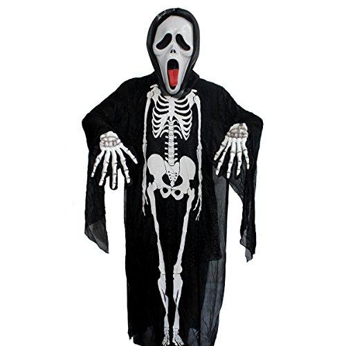 [Halloween Skeleton Skull Bone Screaming mask skeleton gloves (47 inches)] (Good Ideas For Teenage Girl Halloween Costumes)