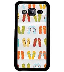 Printvisa Multicoloured Slippers Pattern Back Case Cover for Samsung Galaxy J2::Samsung Galaxy J2 J200F