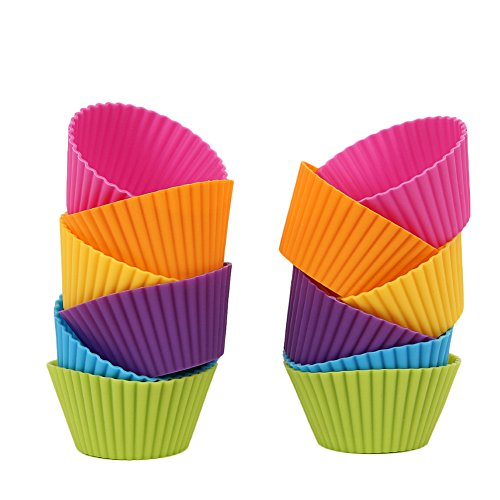 Mango Spot Silicone Baking Cups , Cupcake Liners , Truffle Cups - 12 Pack, 6 Colors