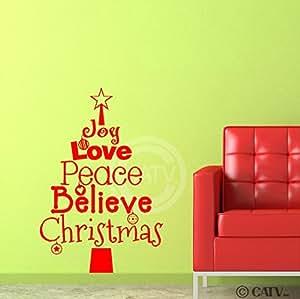 Red Christmas Tree Words Joy Love Peace