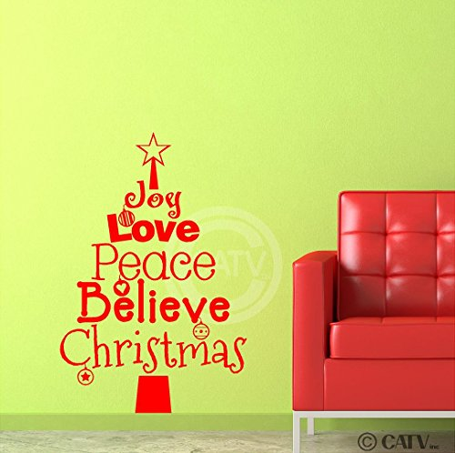 Funky christmas tree wall decals funk this house for Christmas wall art amazon