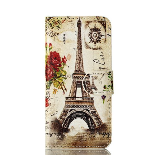 Meaci Apple Iphone 5&5S Folio Case Fashion/Retro Style Paris Eiffel Tower Postmark Pattern With Kickstand Credit Card Holder Id Holder Pu Leather Material Cover Magnetic Buckle (Paris Eiffel Vi)