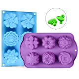 Silicone Soap Molds - Flower Assorted Silicone Molds for Ice Cube Tray, Handmade Jelly, Soap, Pudding, Muffin, Cupcake with Bonus 2 Silicone Wine Stop