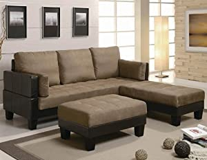 Sofa Bed with Button Tufted in Tan Microfiber and Brown Leatherette Base