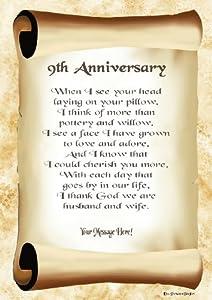 9th Wedding Anniversary Gift Ideas Uk : 9th Anniversary Personalised Poem Gift Print: Amazon.co.uk: Kitchen ...