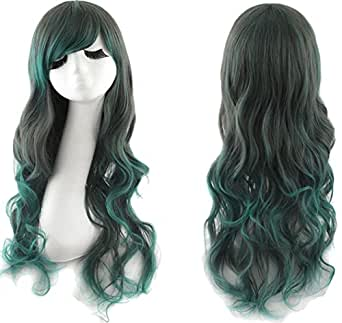 Women Rainbow Rock Curly Wave Wig for Party Cosplay Costumes with Free Wig Cap
