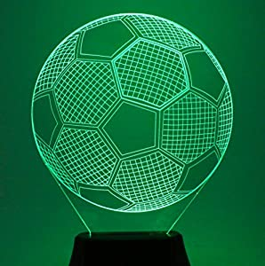 USUN Amazing 3D Illuminated LED 7 Colour Football soccer Bulbbing Illusion Night Light Desk Table Light Lamp by USUN