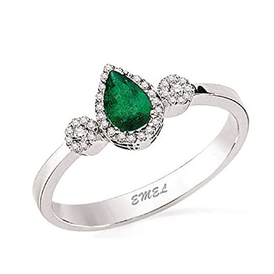 0.34 Carats 18k Solid White Gold Emerald and Diamond Engagement Wedding Bridal Promise Ring Bands