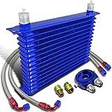 15-Row 10 An Engine Oil Cooler+Blue M20 Sandwich Cooler Adapter Plate+Hose