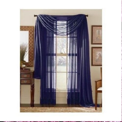Monagifts 2 Panels Navy Blue Sheer Voile Window Panel Curtains 59 Width X 84 Length Each Panel
