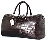 100% PREMIUM GRADE BELLY SKIN GENUINE CROCODILE LEATHER HANDBAG CLOTHING BAG HOBO DARK BROWN RIVER NEW W/Strap&Locked