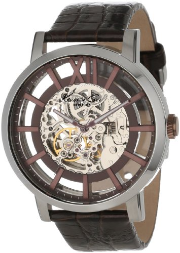 Kenneth Cole New York Men's KC1921 Automatic Silver Dial Automatic Brown Strap Watch