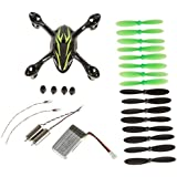 Hubsan Crash Pack for X4 H107C Quadcopter, Includes Body Shell, 8x Pair of Black and Green Propellers, Flight Battery, 4x Rubber Feet, 2x Motors, Black/Green (Black+Green)