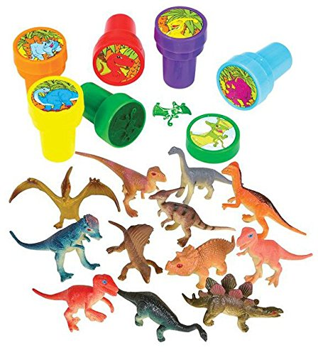 24 Dinosaur Collection Set 12 Dinosaurs and 12 Dino Stampers,