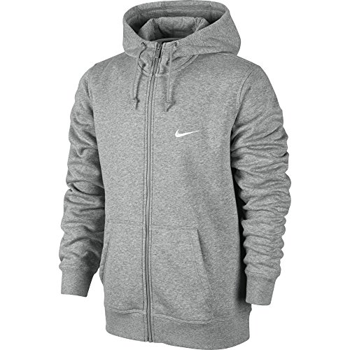 Nike Club Fz Hoody-Swoosh Felpa Con Zip, Dk Grey Heather/White, M
