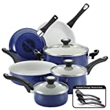 Farberware New Traditions Speckled Aluminum Nonstick 12-Piece Cookware Set, Blue with Black Handles