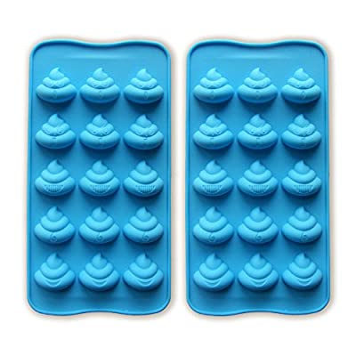 JEWSUN Cute Poop Candy Mold Chocolate Mold Ice Cube Trays (set of 2)
