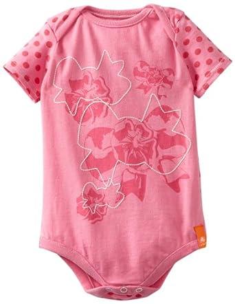 Crocs Unisex-Baby Newborn Short Sleeve Bodysuit, Pink Lemonade, 3 Months