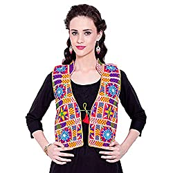 VASTRAA FUSION BRICK RED BASE MULTICOLOURED EMBROIDERED COTTON COLLARED JACKET WITH YELLOW PIPING -Large