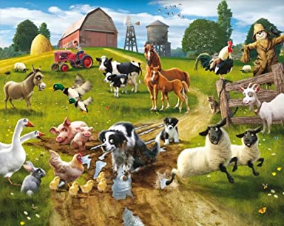 Farmyard Fun Wallpaper Mural 8ft x 10ft by Walltastic Ltd