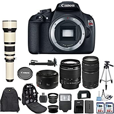 Canon EOS Rebel T5 18MP EF-S Digital SLR Camera with Canon EF-S 18-55mm IS Lens + Canon 75-300mm Zoom Lens + Canon EF 50mm f/1.8 II Lens + 650-1300mm Zoom Lens + 2 pc Commander 32GB Memory Cards