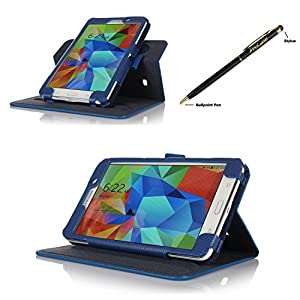 ProCase Samsung Galaxy Tab 4 7.0 Dual View Case (horizontal and vertical display) - Rotating Stand Folio Cover Case for 7 inch Galaxy Tab 4 (2014 released) with Corner Protected, and bonus Stylus Pen (Navy, Dark Blue) by ProCase
