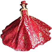 Ebuddy Princess Party Long Red Dress With Hat Mini Doll Clothes For Barbie Doll
