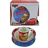 Disney Cars Childrens Porcelain 3 Piece Dinnerware Set - Plate, Bowl, Mug