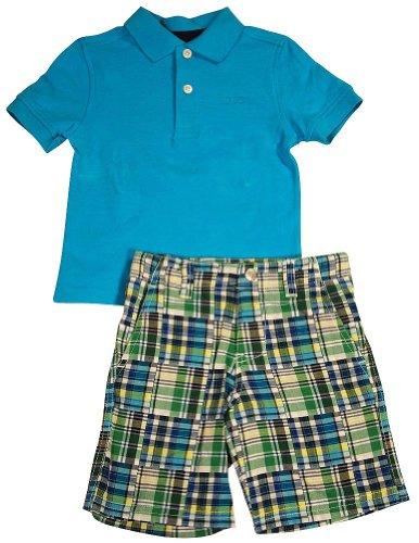 Izod - Little Boys Short Sleeve Short Set, Surf Blue 34770-3T
