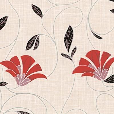 Erismann Suzi Floral Wallpaper Cream Red