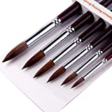 Artist Paint Brushes-Superior Sable Hair Artists Round Point Tip Paint Brush Set Watercolor Acrylic Painting Supplies. (Color: Wooden Handle, Tamaño: New168)