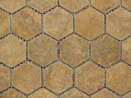 Stone Tiles Hexagon 2x2 TUMBLE Gold Yellow Travertine