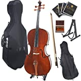 Cecilio 4/4CCO-300 Rosewood Fitted Solid Wood Cello with Hard and Soft Case, Bow, Rosin, Bridge, Strings and Stand (Full Size)