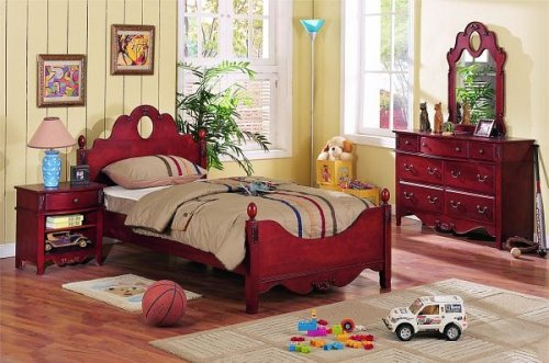 Cheap 4 pc cherry finish wood twin size kids bedroom set (VF_BEDSET-F9029)