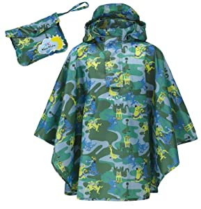 Kozi Kidz Kids Zoo Rain Poncho - Blue Pattern, Small