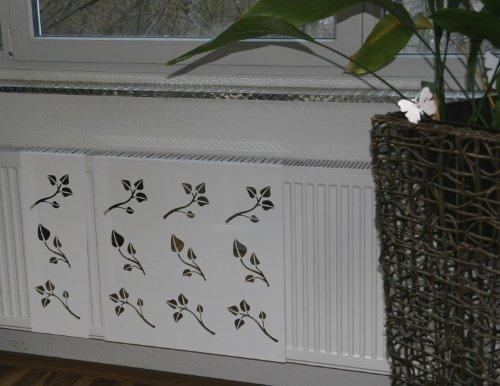 heizk rperverkleidung 62 x 20 cm design leaves wei. Black Bedroom Furniture Sets. Home Design Ideas