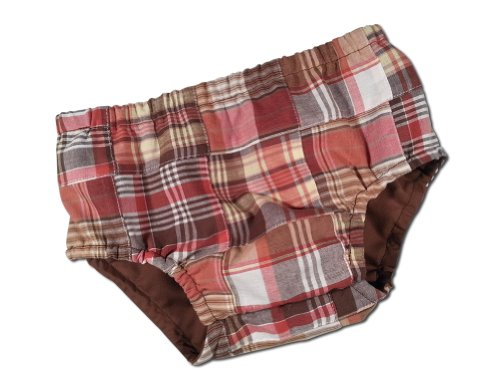 Juxby Kids Baby-Boys Madras Diaper Cover 12-24 Month Brown Madras
